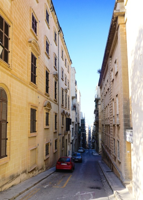 Narrow and steep streets through the city of Valetta. ©Tiffany Cromwell