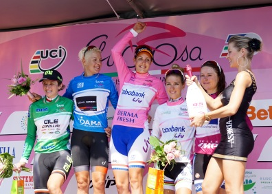 Jersey wearers after stage 1. ©Tiffany Cromwell