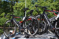 The Cervelo S5 spare bikes are racked and ready to go. ©Tiffany Cromwell