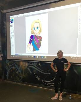 Tiffany with her Manga Art by Kogawa