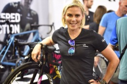 Tiffany at the Canyon Booth in the TDU village ©WMNCycling