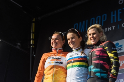 Top three in Gent - Lizze Armitstead, Chantal Blaak and Tiffany Cromwell - 2016 Omloop het Nieuwsblad - Elite Women, a 124km road race from Vlaams Wielercentrum Eddy Merckx to Ghent on February 27, 2016 in East Flanders, Belgium. ©Velofocus