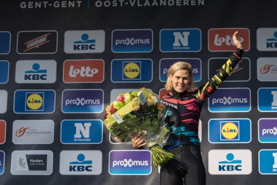 Tiffany Cromwell greats the crowds as she takes third place - 2016 Omloop het Nieuwsblad - Elite Women, a 124km road race from Vlaams Wielercentrum Eddy Merckx to Ghent on February 27, 2016 in East Flanders, Belgium.