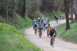 Tiffany Cromwell taps a steady rhythm across the gravel - 2016 Strade Bianche - Elite Women, a 121km road race from Siena to Piazza del Campo on March 5, 2016 in Tuscany, Italy. ©Velofocus