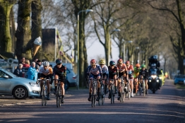 Lead group enter Dwingeloo for the first of three local laps - Drentse 8, a 140km road race starting and finishing in Dwingeloo, on March 13, 2016 in Drenthe, Netherlands. ©Velofocus