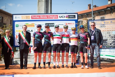 The Canyon//SRAM Cycling Team line up on the start podium before rolling out for the Trofeo Alfredo Binda - a 123.3km road race from Gavirate to Cittiglio on March 20, 2016 in Varese, Italy. ©Velofocus