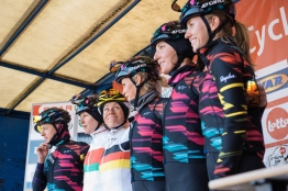 Trixi Worrack looks up to her teammates at sign in - 2016 Omloop van het Hageland - Tielt-Winge, a 129km road race starting and finishing in Tielt-Winge, on February 28, 2016 in Vlaams-Brabant, Belgium. ©Velofocus