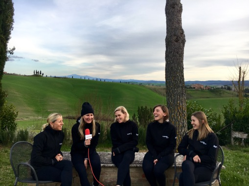 The Canyon//SRAM Racing team getting interviewed by Vox Women.©WMNCycling