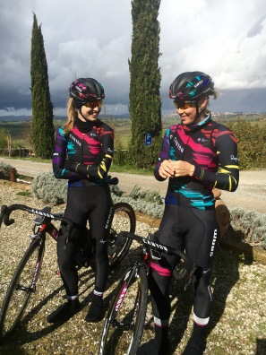 Alexis Ryan and Tiffany excited to go training in Tuscany. ©WMNCycling