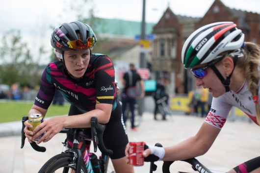 Tiffany Cromwell (AUS) discusses the stage with CANYON//SRAM Racing teammate Alena Amialiusik (BLR) after the finish the Aviva Women's Tour 2016 - Stage 4. A 119.2 km road race from Nottingham to Stoke-on-Trent, UK on June 18th 2016. ©Velofocus