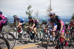 Tiffany Cromwell (AUS) of CANYON//SRAM Racing rides up the Emerald Bay climb during the first, 117 km road race stage of the Amgen Tour of California - a stage race in California, United States on May 19, 2016 in South Lake Tahoe, CA. ©Velofocus