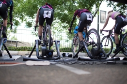 CANYON//SRAM Racing riders warm up before the second, 20.3 km team time trial stage of the Amgen Tour of California - a stage race in California, United States on May 20, 2016 in Folsom, CA. ©Velofocus