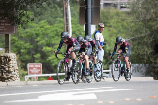 CANYON//SRAM Racing tackles the last few hundred metres of the second, 20.3 km team time trial stage of the Amgen Tour of California - a stage race in California, United States on May 20, 2016 in Folsom, CA. ©Velofocus