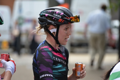 Tiffany taking on refreshments post stage 1 ©WMNCycling
