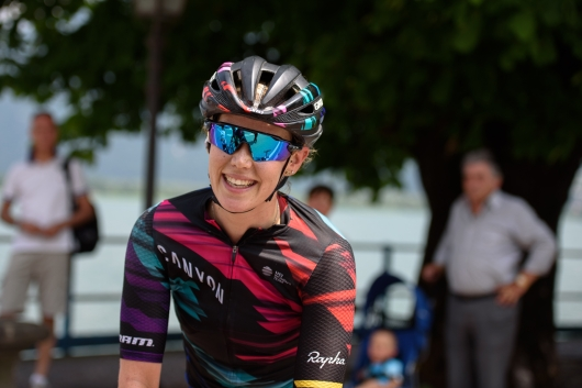 A happy winner, Tiffany Cromwell (CANYON//SRAM Racing) at Giro Rosa 2016 - Stage 4. A 98.6 km road race from Costa Volpino to Lovere, Italy on July 5th 2016. ©Velofocus