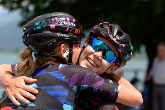 Tiffany Cromwell celebrates her stage win with teammate, Alena Amialiusik at Giro Rosa 2016 - Stage 4. A 98.6 km road race from Costa Volpino to Lovere, Italy on July 5th 2016. ©Velofocus