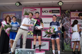 Tiffany Cromwell (AUS) of CANYON//SRAM Racing celebrates her win of the Giro Rosa 2016 - Stage 4. A 98.6 km road race from Costa Volpino to Lovere, Italy on July 5th 2016. ©Velofocus