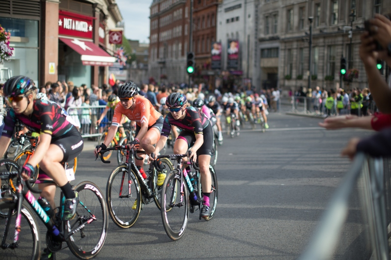 Erica Allar (USA) of Rally Cycling Team and Tiffany Cromwell (AUS) of CANYON//SRAM Racing ride in the peloton during the Prudential RideLondon Classique, a 66 km road race in London on July 30, 2016 in the United Kingdom. ©Velofocus