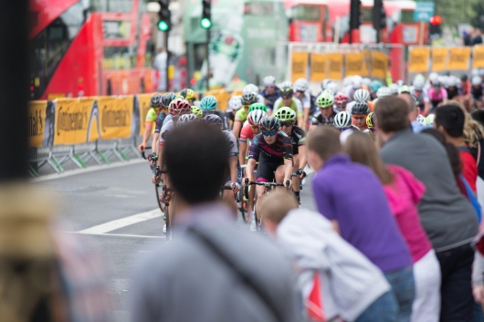 The peloton rides on Whitehall, in front of 10 Downing street, the home of the British Prime Minister, during the Prudential RideLondon Classique, a 66 km road race in London on July 30, 2016 in the United Kingdom. ©Velofocus