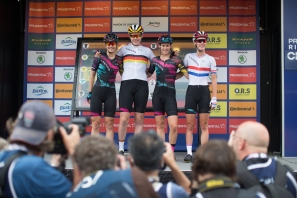 The CANYON//SRAM Racing stands on the sign on podium before the start of the Prudential RideLondon Classique, a 66 km road race in London on July 30, 2016 in the United Kingdom. ©Velofocus