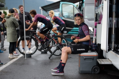 Tiffany Cromwell prepares for La Course 2017 - a 67.5 km road race, from Briancon to Izoard on July 20, 2017, in Hautes-Alpes, France. (Photo by Sean Robinson/Velofocus.com)