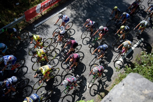 Peloton pass under foot at La Course 2017 - a 67.5 km road race, from Briancon to Izoard on July 20, 2017, in Hautes-Alpes, France. (Photo by Sean Robinson/Velofocus.com)